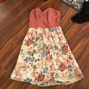 Modcloth floral strapless dress w boning